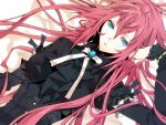 blue_eyes gothic gothic_lolita lolita_fashion long_hair lying manyako_(mohumohu) megurine_luka pink_hair ribbon solo vocaloid