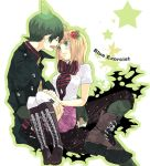 antenna_hair ao_no_exorcist blonde_hair boots coat crossed_legs fangs fingernails flower green_eyes green_hair hair_flower hair_ornament legs_crossed long_fingernails long_nails moriyama_shiemi open_mouth pointy_hair short_hair sitting sitting_on_lap sitting_on_person skirt thigh-highs thighhighs white_legwear xenon_1005 zettai_ryouiki