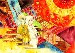 1girl couple egasumi emuchi grey_hair hakama hands_in_sleeves hood izanami japanese_clothes kimono narukami_yuu paint_(medium) patterned persona persona_4 red_eyes seta_souji spoilers surreal traditional_media uchikake wedding