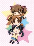 black_hair brown_eyes brown_hair bunny_ears cat_ears chibi closed_eyes dog_ears eyes_closed haruna_mahiru hirasawa_ui k-on! long_hair lying nakano_azusa ponytail short_hair short_twintails suzuki_jun twintails