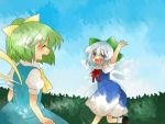 :d aenobas bad_id blue_eyes blue_hair blush bow cirno closed_eyes daiyousei dress eyes_closed green_eyes green_hair hair_bow hammer_(sunset_beach) multiple_girls open_mouth short_hair side_ponytail smile touhou wings