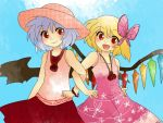 :d aenobas alternate_costume blonde_hair butterfly_hair_ornament comic contemporary dress flandre_scarlet hair_ornament hammer_(sunset_beach) hat jewelry lavender_hair locked_arms multiple_girls necklace open_mouth red_eyes remilia_scarlet short_hair siblings silent_comic sisters skirt sleeveless sleeveless_shirt smile sun_hat sundress touhou wings