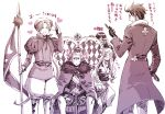 ahoge alternate_costume annoyed arm_up austria_(hetalia) axis_powers_hetalia bangs belt beret blush boots camera cane closed_eyes clubs crown dress eyes_closed flag fur_trim germany_(hetalia) glasses gloves happy hat heart hiding hungary_(hetalia) jacket japan_(hetalia) jewelry king long_hair male monochrome multiple_boys necklace northern_italy_(hetalia) open_mouth pants pantyhose polearm purple recording salute sash scepter short_hair simple_background sitting skirt spear standing sweat takosu text weapon white_skin