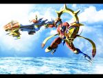 cloud digimon digimon_frontier letterboxed no_humans ocean sky solo sparkle susanoomon sword takayuuki water weapon