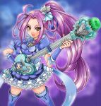 1girl blue_legwear boots breast_rest breasts brooch carried_breast_rest choker cure_beat dress frills guitar hair_ornament hair_ribbon hairpin heart instrument jewelry kurokawa_ellen long_hair love_guitar_rod magical_girl precure purple_background purple_hair ribbon side_ponytail siren_(suite_precure) smile solo suite_precure thigh-highs thigh_boots thighhighs wrist_cuffs yellow_eyes
