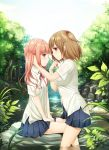 2girls :o bangs blush brown_eyes brown_hair character_request collar hand_in_hair hands_on_another's_head hands_on_lap holding holding_hair itou_nanami long_hair looking_at_another multiple_girls nature neck_ribbon one_side_up open_mouth partially_submerged pink_eyes pink_hair pleated_skirt ribbon river rock school_uniform shirt short_hair short_sleeves side_ponytail sitting sitting_on_rock skirt smile straddle tomodachi_login tree water white_shirt