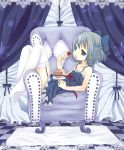 armchair blue_eyes blue_hair candy chair checkerboard checkered cirno cupcake curtains dress eating food fruit garter_belt grey_eyes grey_hair hair_ribbon hair_ribbons lace lace-trimmed_thighhighs maki_(natoriumu) maki_(pixiv) pantyhose parody plate raspberries raspberry ribbon ribbons short_hair sitting solo sweets thigh-highs thighhighs touhou vocaloid wallpaper white_legwear white_thighhighs world_is_mine_(vocaloid) yayoi