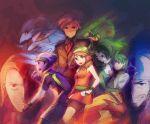 1girl 5boys aogiri_(pokemon) bag bandana bike_shorts black_hair blaziken blue_eyes brown_hair fingerless_gloves gardevoir gloves green_eyes green_hair grin haruka_(pokemon) haruka_(pokemon)_(remake) haruka_(pokemon_emerald) hat holding holding_poke_ball matsubusa_(pokemon) mitsuru_(pokemon) multiple_boys poke_ball pokemon pokemon_(creature) pokemon_(game) pokemon_rse pokemon_trainer red_eyes sceptile silver_hair smile swampert team_aqua team_magma tsuwabuki_daigo weee_(raemz) yuuki_(pokemon) yuuki_(pokemon)_(remake) yuuki_(pokemon_emerald)