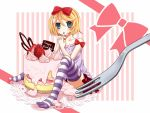 blonde_hair blue_eyes blush candy eating kagamine_rin pantyhose ribbon short_hair skirt solo strawberries sweets thigh-highs vocaloid yayoi