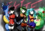 3girls ace_trainer ace_trainer_(pokemon) black_eyes black_hair blue_eyes blue_hair drill_hair english green_hair hair_bun kingdra long_hair luxray monster multiple_girls necktie nintendo pokemon pokemon_(game) pokemon_black_and_white pokemon_bw pokemon_diamond_and_pearl pokemon_dppt pokemon_heartgold_and_soulsilver pokemon_hgss pokemon_platinum reuniclus shorts skirt thigh-highs thighhighs trainer_class twin_drills vest
