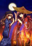 duo fire happy hat kimono long_hair moon night nishimata_aoi oretachi_ni_tsubasa_wa_nai