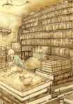 book bookshelf highres mouse mymy421 nezumi_(no.6) no.6 reading room shion_(no.6) short_hair sion_(no.6) sketch white_hair