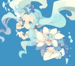 blue blue_background blue_eyes blue_hair cure_marine heart heartcatch_precure! kurumi_erika long_hair magical_girl oppo precure skirt solo symbol-shaped_pupils thigh-highs thighhighs underwater white_legwear