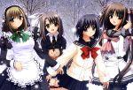 ahoge apron group haneda_kobato maid nishimata_aoi ootori_naru oretachi_ni_tsubasa_wa_nai ribbon school_uniform seifuku short_hair snow tamaizumi_hiyoko watarai_asuka winter