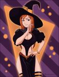 bleach breast dress hairpins inoue_orihime jewelry long_hair orange_hair pantyhose smile smirk solo violet_eyes witch witch_hat