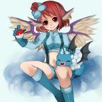 1girl animal_ears bat_wings boots cosplay fuuro_(pokemon) fuuro_(pokemon)_(cosplay) gloves hair_ornament heart holding holding_poke_ball midriff momoiro_gingham mystia_lorelei navel poke_ball pokemon pokemon_(creature) pokemon_(game) pokemon_black_and_white pokemon_bw red_eyes red_hair redhead short short_hair smile solo swoobat touhou wings woobat