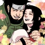 1girl arabagi baby black_hair couple family forehead_protector happy hug konohagakure_symbol lowres naruto sarutobi_asuma smile yuuhi_kurenai