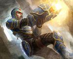 1boy armor epic foofoo full_armor greaves helmet male medieval pauldron pauldrons realistic rockman rockman_(character) rockman_x weapon x x_(rockman)