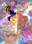 ascot blonde_hair bunchou_(bunchou3103) flaming_sword flandre_scarlet full_moon glowing glowing_eye hat highres laevatein moon night ominous_shadow red_eyes red_moon shirt side_ponytail skirt skirt_set sky smile solo star_(sky) sword the_embodiment_of_scarlet_devil touhou weapon wings