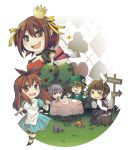 alice_(wonderland)_(cosplay) alice_in_wonderland asahina_mikuru chibi cookie cosplay crown dormouse dormouse_(cosplay) enshima fan food koizumi_itsuki kyon mad_hatter mad_hatter_(cosplay) mushroom nagato_yuki pocket_watch queen_of_hearts queen_of_hearts_(cosplay) suzumiya_haruhi suzumiya_haruhi_no_yuuutsu tea_set tree_stump watch white_rabbit white_rabbit_(cosplay)