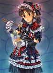 bowl brown_hair copyright_request dress food frilled_dress frills gloves gothic_lolita hairband lolita_fashion nattou pizza_man solo