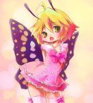 1girl antennae blonde_hair dress fairy female green_eyes highres kolshica shimon shimotsuma short_hair solo thigh-highs thighhighs wings zettai_ryouiki