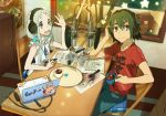 black_hair blue_eyes brown_eyes casual computer cup hand_on_headphones headphones honma_meiko hot_chocolate laptop long_hair microphone muhaikei radio_booth short_hair silver_hair studio_microphone yadomi_jinta