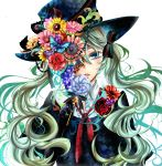 aqua_eyes bow flower gloves green_hair hair_bow hat hat_flower hatsune_miku head_tilt highres long_hair red_rose rose simple_background solo top_hat tubakinokubi twintails very_long_hair vocaloid