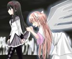 akemi_homura black_hair dress gloves goddess_madoka kaname_madoka long_hair mahou_shoujo_madoka_magica multiple_girls oblivious pantyhose pink_hair profile ribbon role_reversal sicile_gloria skirt skirt_lift spoilers ultimate_madoka white_dress white_gloves wings yuri