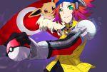 1boy eevee goggles green_eyes headgear holding holding_poke_ball poke_ball pokemon pokemon_(creature) pokemon_(game) pokemon_xd pokemon_xd_gale_of_darkness pokemon_xd_whirlwind_of_darkness red_hair redhead ryuuto_(pokemon) snag_machine