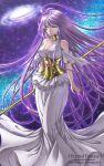 athena_(saint_seiya) bare_shoulders breasts choker cleavage dress galaxy green_eyes long_hair purple_hair saint_seiya saint_seiya:_the_lost_canvas sasha_(saint_seiya:_the_lost_canvas) shainea solo staff very_long_hair