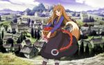 1girl animal_ears apples braid fox_ears fox_tail holo landscape red_eyes ring shirt skirt solo spice_and_wolf tail town vest