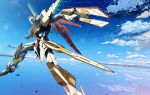 flying gundam gundam_seed gundam_seed_a-star highres mecha mobile_suit_gundam no_humans ocean original sky sparkle starlight_(stack) sword tsx-08a_a-star water weapon