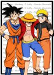 3boys black_hair blonde_hair blue_eyes character_name crossover dragon_ball dragonball hat male monkey_d_luffy multiple_boys naruto one_piece open_clothes open_shirt orange_pants red_shirt sandals sash scar smile son_goku son_gokuu straw_hat straw_hat_pirates uzumaki_naruto wink zipper