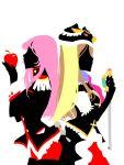 animal_hat apple back-to-back creator_connection crossover epaulettes food fruit hat holding holding_apple holding_fruit mawaru_penguindrum multiple_girls pink_hair princess_of_the_crystal profile shoujo_kakumei_utena silhouette sword takakura_himari tegaki tenjou_utena weapon