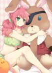 arch_(artist) bare_shoulders barefoot bunny checkered checkered_background curly_hair doll doll_hug eyepatch feldt_grace green_eyes gundam gundam_00 haro hug legs lockon_stratos long_hair midriff neil_dylandy pajamas pink_hair plum_(arch) rabbit scrunchie sitting solo stuffed_animal stuffed_bunny stuffed_toy tubetop twintails