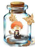 bottle caterpillar lukias moth orange_hair school_uniform shima_renzou solo tears