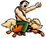 arcanine belt brown_hair capcom cross crossover epic facial_hair fang final_fight fist keijimatsu manly mike_haggar moustache muscle mustache nintendo open_mouth pokemon riding short_hair topless