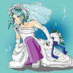 blue_hair bouquet crossdress crossdressing flower mikuri_(pokemon) pants pokemon solo sparkles wedding_dress