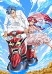 blue_hair blue_sky couple dress frills gloves grin gurren hair_ornament highres jewelry kamina lagann motor_vehicle ponytail red_eyes redhead ring sabakan5555 scooter skull_hair_ornament sky smile tengen_toppa_gurren_lagann tuxedo vehicle veil vespa wedding_dress wedding_ring yellow_eyes yoko_littner