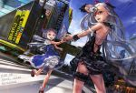 airplane akihabara akihabara_(tokyo) audi audi_r8 bare_back bare_shoulders black_panties blue_hair camera cirno condensation_trail contemporary contrail dress dutch_angle el-zheng garter_belt hand_holding happy highres holding_hands ice ice_wings izayoi_sakuya long_hair looking_back motion_blur multiple_girls open_mouth panties pantyshot product_placement remilia_scarlet short_hair silver_hair skirt smile sparkle street tokyo_(city) touhou underwear wings