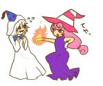 angry bow_tie doopliss dress fire gloves hat nintendo paper_mario paper_mario:_the_thousand-year_door party_hat pink_hair red_eyes super_mario_bros. violet_eyes vivian white_hair witch_hat