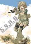 assault_rifle bad_id bandaid boots casing_ejection copyright_request fingerless_gloves firing gloves goggles goggles_on_head gun load_bearing_vest military military_uniform muzzle_flash ogitsune_(ankakecya-han) open_mouth operator rifle shell_casing short_hair solo trigger_discipline uniform weapon