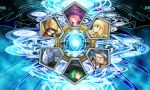 blazblue blazblue_phase_0 blonde_hair cat_hood character_select crest facial_hair finger_to_mouth green_hair hakumen hat hazama hood jubei_(blazblue) konoe_a_mercury mask nine_(blazblue) pink_hair platinum_the_trinity ponytail sword trinity_glasfille trinity_glassfield tsukikanade valkenhayn_r_hellsing weapon witch_hat