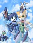 arwing blue_eyes chibi falco_lombardi fox_mccloud green_eyes holding_hands krystal peppy_hare slippy_toad tail tiara yellow_eyes