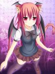 1girl alternate_costume animal_ears bat_wings black_legwear blush bow cat_ears cat_tail head_wings kaiba-san_@kc kemonomimi_mode koakuma long_hair looking_at_viewer pink_eyes puffy_sleeves redhead school_uniform shirt short_sleeves skirt smile solo tail thigh-highs touhou very_long_hair vest wings zettai_ryouiki