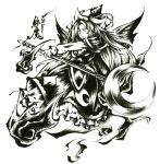 brush_(medium) capelet crescent dress frown ghost ghost_tail hat highres link163353 long_hair looking_down mima monochrome moon nib_pen_(medium) open_mouth simple_background solo staff star sun_(symbol) touhou touhou_(pc-98) traditional_media weapon wings wisp wizard_hat