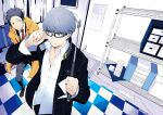 checkered ginsyari glasses narukami_yuu necktie persona persona_4 school_uniform seta_souji