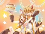 1boy 1girl birthday blonde_hair boy boy_and_girl cake cheer female girl hair_clip hair_ribbon kagamine_len kagamine_rin kagamone_len male smile twins vocaloid