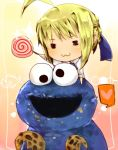 1girl =_= ahoge artoria_pendragon_(all) bad_id blonde_hair candy chibi cookie cookie_monster crossover fate/stay_night fate_(series) food googly_eyes heart jim_henson lollipop lowres paipu_akatsuki puppet saber sesame_street